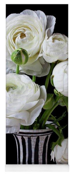 White Ranunculus In Black And White Vase Yoga Mat