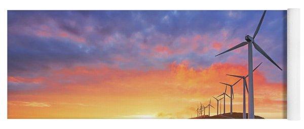 wind turbines in Oiz eolic park Yoga Mat
