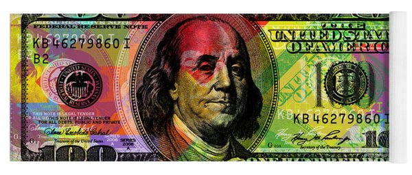 Benjamin Franklin - Full Size $100 Bank Note Yoga Mat