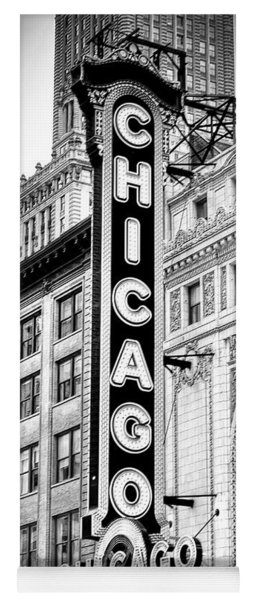 1077 Chicago Theater Black And White Yoga Mat
