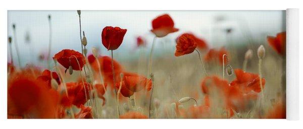 Summer Poppy Meadow Yoga Mat