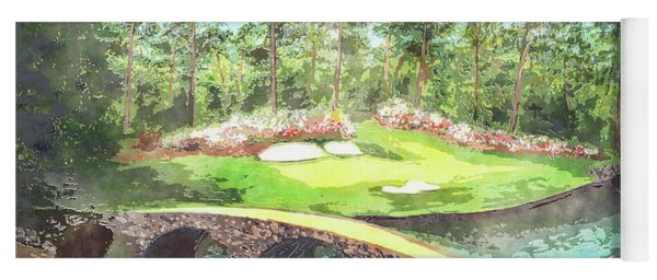 12th Hole At Augusta National Watercolor Yoga Mat