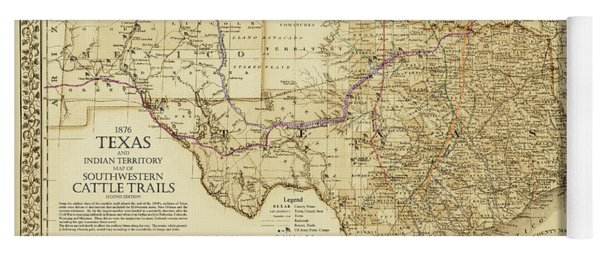 1876 Great Texas And Southwestern Cattle Trails Map Yoga Mat