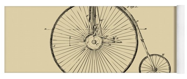 1881 Velocipede Bicycle Patent Artwork - Vintage Yoga Mat