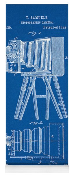 1885 Camera Us Patent Invention Drawing - Blueprint Yoga Mat