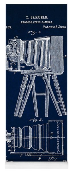 1885 Camera Us Patent Invention Drawing - Dark Blue Yoga Mat