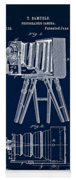 1885 Camera Us Patent Invention Drawing - Dark Blue Yoga Mat