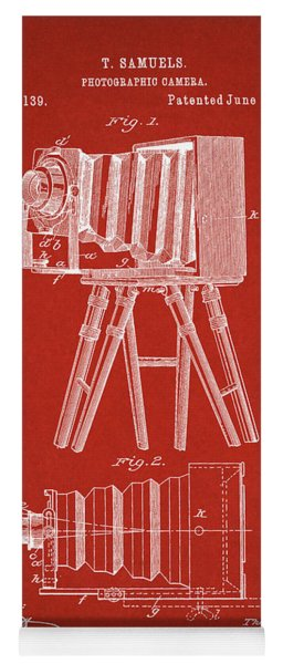 1885 Camera Us Patent Invention Drawing - Red Yoga Mat