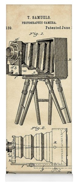 1885 Camera Us Patent Invention Drawing - Vintage Tan Yoga Mat