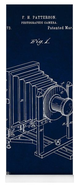 1888 Camera Us Patent Invention Drawing - Dark Blue Yoga Mat