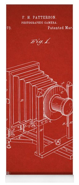 1888 Camera Us Patent Invention Drawing - Red Yoga Mat