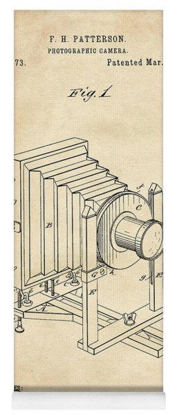 1888 Camera Us Patent Invention Drawing - Vintage Tan Yoga Mat