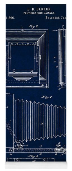 1891 Camera Us Patent Invention Drawing - Dark Blue Yoga Mat
