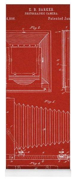 1891 Camera Us Patent Invention Drawing - Red Yoga Mat