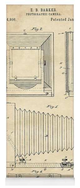 1891 Camera Us Patent Invention Drawing - Vintage Tan Yoga Mat