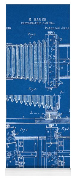 1897 Camera Us Patent Invention Drawing - Blueprint Yoga Mat
