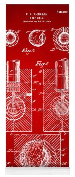 1902 Golf Ball Patent Artwork Red Yoga Mat
