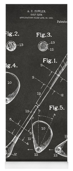 Yoga Mat featuring the digital art 1910 Golf Club Patent Artwork - Gray by Nikki Marie Smith