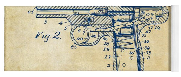 1911 Automatic Firearm Patent Minimal - Vintage Yoga Mat