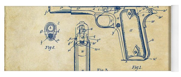 Yoga Mat featuring the digital art 1911 Colt 45 Browning Firearm Patent Artwork Vintage by Nikki Marie Smith
