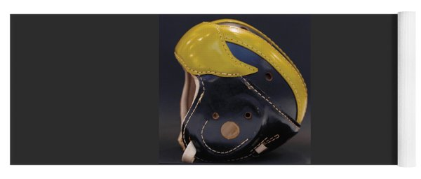 Yoga Mat featuring the photograph 1940s Leather Wolverine Helmet by Michigan Helmet
