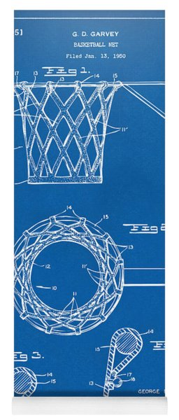 Yoga Mat featuring the digital art 1951 Basketball Net Patent Artwork - Blueprint by Nikki Marie Smith