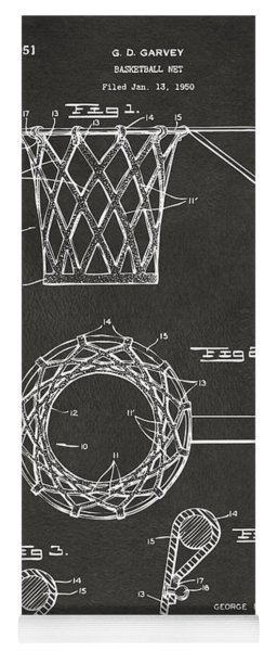 Yoga Mat featuring the digital art 1951 Basketball Net Patent Artwork - Gray by Nikki Marie Smith