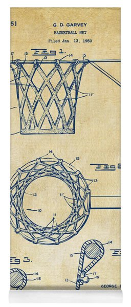 Yoga Mat featuring the digital art 1951 Basketball Net Patent Artwork - Vintage by Nikki Marie Smith