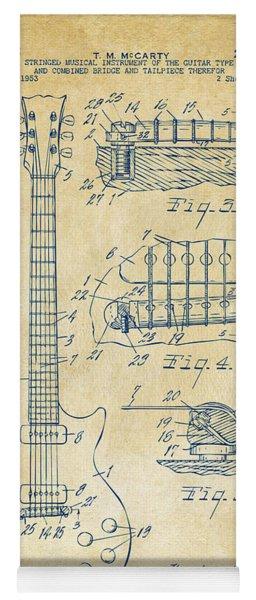 1955 Mccarty Gibson Les Paul Guitar Patent Artwork Vintage Yoga Mat