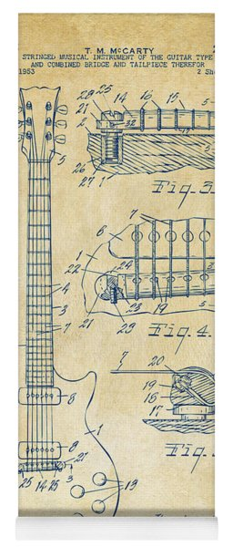 Yoga Mat featuring the drawing 1955 Mccarty Gibson Les Paul Guitar Patent Artwork Vintage by Nikki Marie Smith