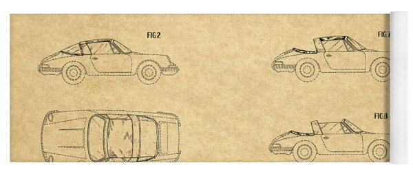 1966 Porsche Car Patent 1 Yoga Mat