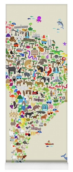 Animal Map Of South America For Children And Kids Yoga Mat