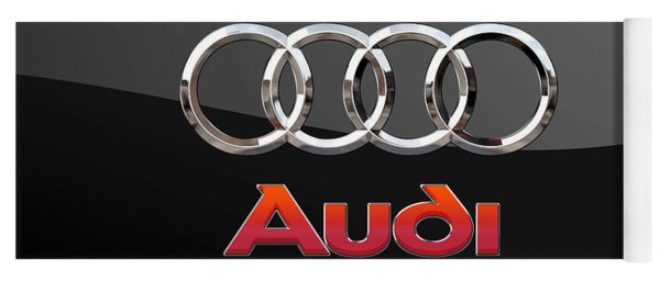 Audi - 3 D Badge On Black Yoga Mat