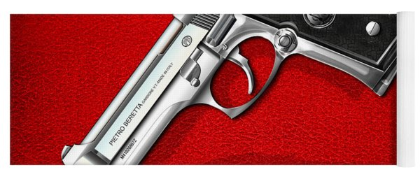 Beretta 92fs Inox Over Red Leather  Yoga Mat