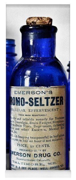 Bromo Seltzer Vintage Glass Bottles Collection Yoga Mat
