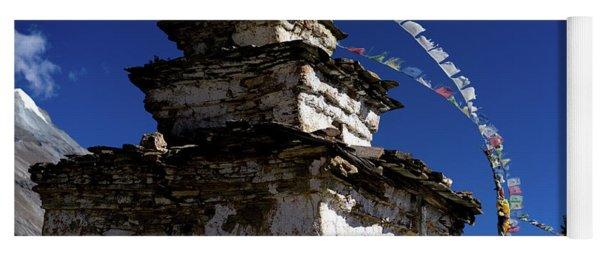Buddhist Gompa And Prayer Flags In The Himalaya Range, Annapurna Region, Nepal Yoga Mat