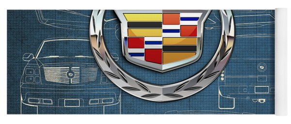 Cadillac 3 D Badge Over Cadillac Escalade Blueprint  Yoga Mat