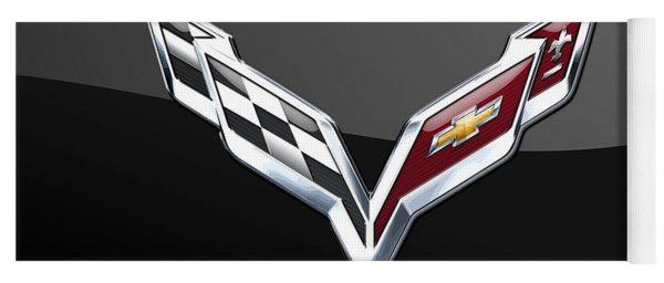 Chevrolet Corvette 3d Badge On Black Yoga Mat