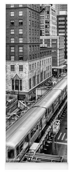 Historic Chicago El Train Black And White Yoga Mat