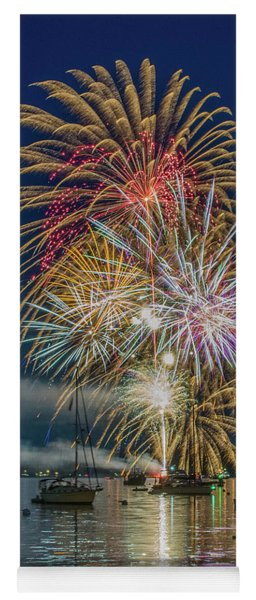 Independence Day Fireworks In Boothbay Harbor Yoga Mat