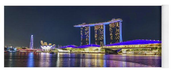 Marina Bay Sands And The Artscience Museum In Singapore Yoga Mat