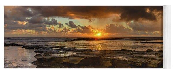Overcast And Cloudy Sunrise Seascape Yoga Mat