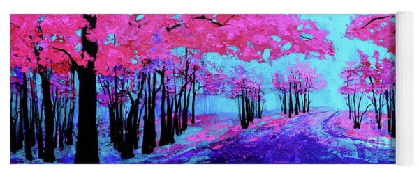 Yoga Mat featuring the painting Purple Magenta, Forest, Modern Impressionist, Palette Knife Painting by Patricia Awapara
