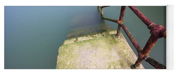 Rusty Handrail Going Down On Water Yoga Mat