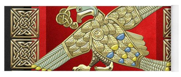 Sacred Celtic Bird On Red And Black Yoga Mat