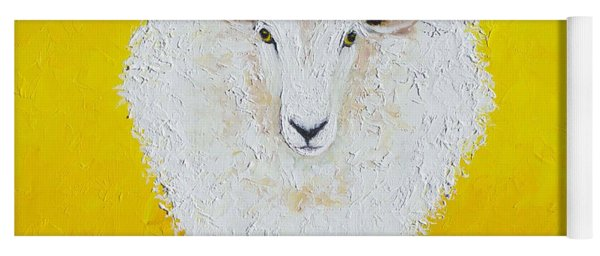 Sheep Painting On Yellow Background Yoga Mat