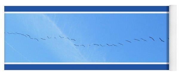 String Of Birds In Blue Yoga Mat