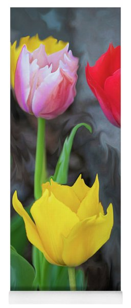 Yoga Mat featuring the digital art Tulips by Cristina Stefan