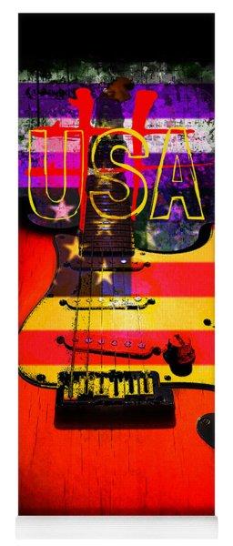 Red Usa Flag Guitar  Yoga Mat
