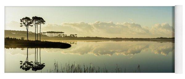 Western Lake Misty Morning Panorama Yoga Mat